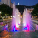 Снимка на нощен Благоевград, прекрасни фонтани